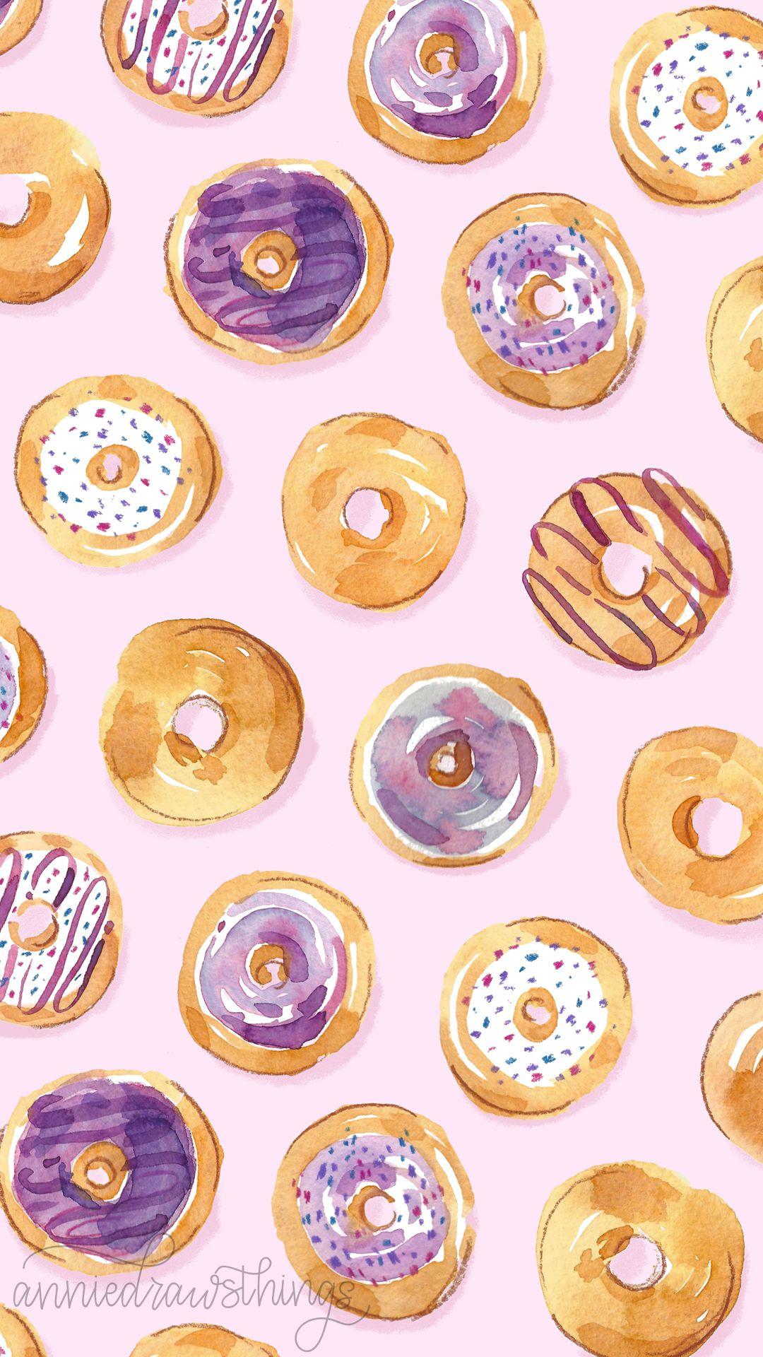 Cute Watercolor Donut Wallpaper Annie Parsons Food Artwork Watercolor Wallpaper Wallpaper