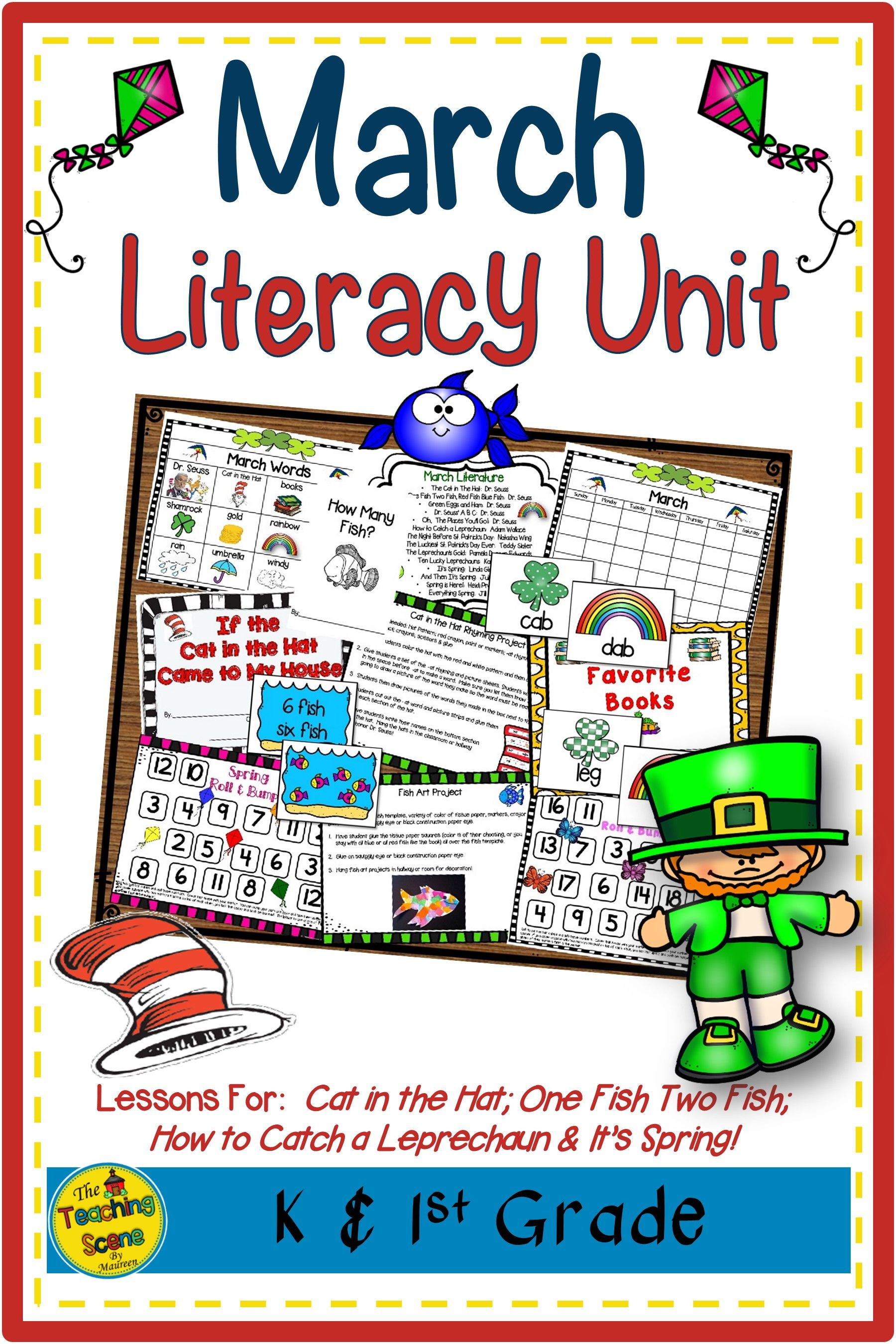 March Literacy Unit Cat In The Hat One Fish Two Fish