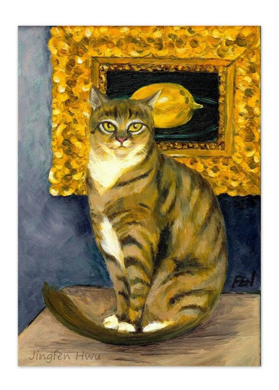 "8x11 print cat art print of ""A Cat In Front Of Eduard Manet's The Lemon"" for wall art or wall deco (24)"