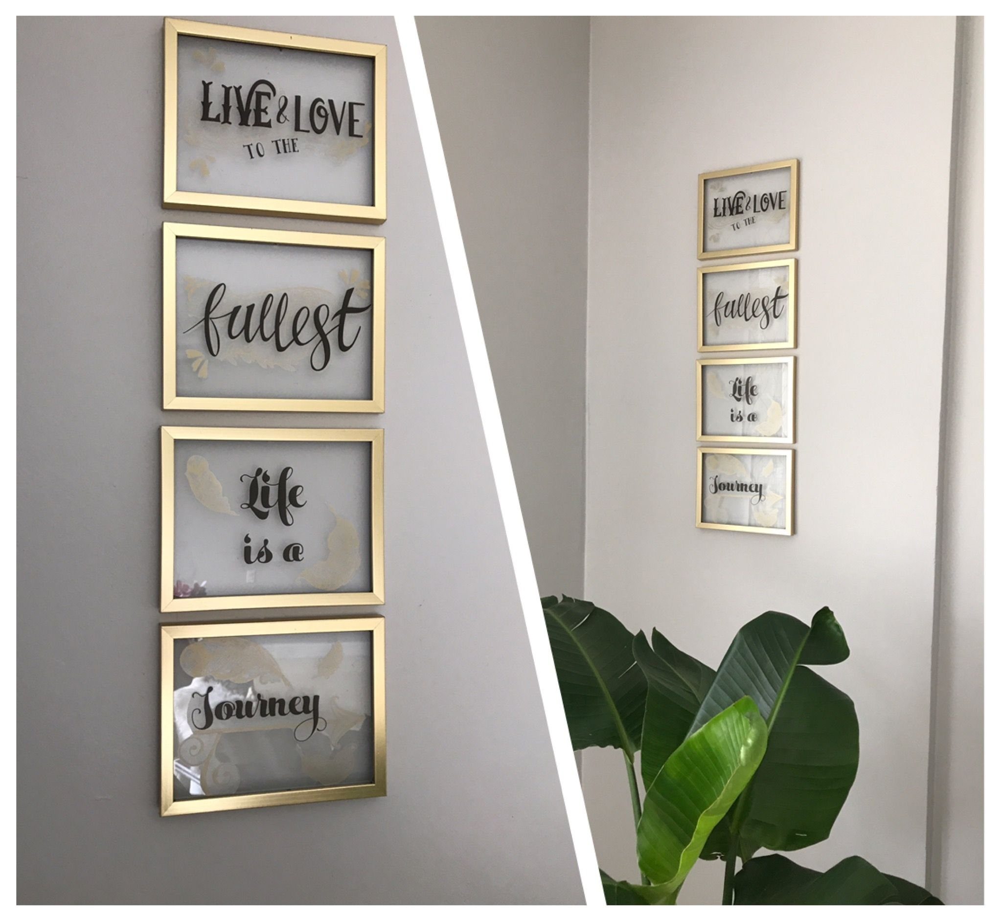 Diy using dollar tree gold frames and wall quotes love