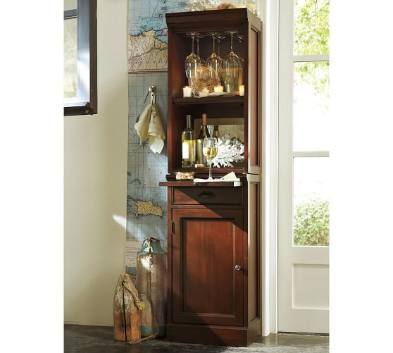 Modular Bar With Cabinet Tower Pottery Barn Open Hutch 18 Wide X