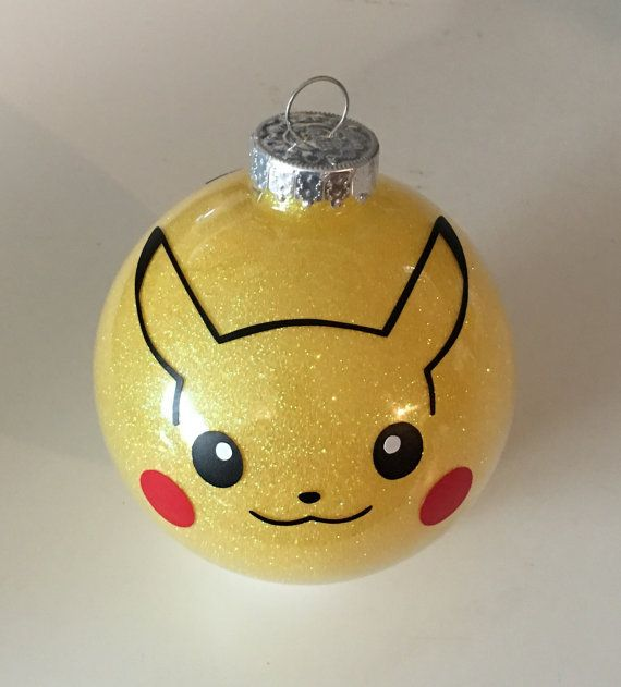 Pikachu Christmas Ornament.Pokemon Inspired Pikachu Glitter Ornament 3 25 Glass Ball