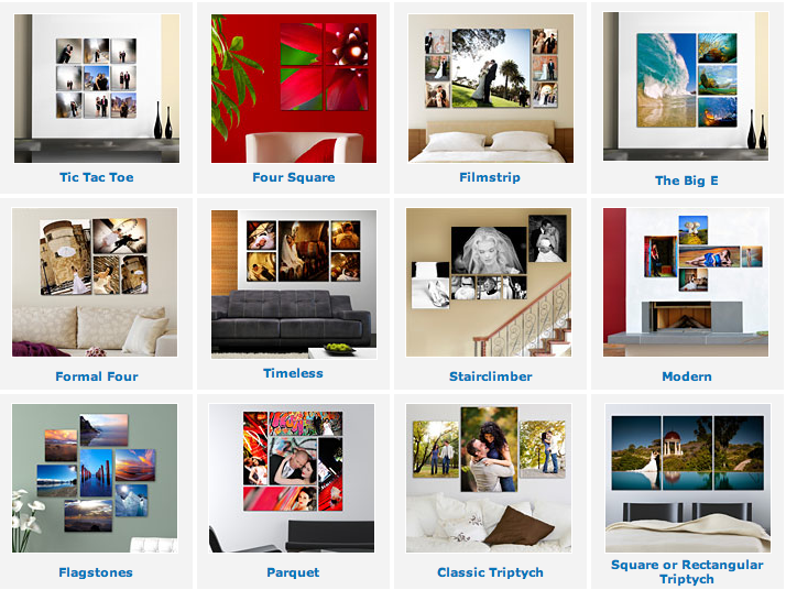 Some great ideas for photo clusters and splits. www.bayphoto.com