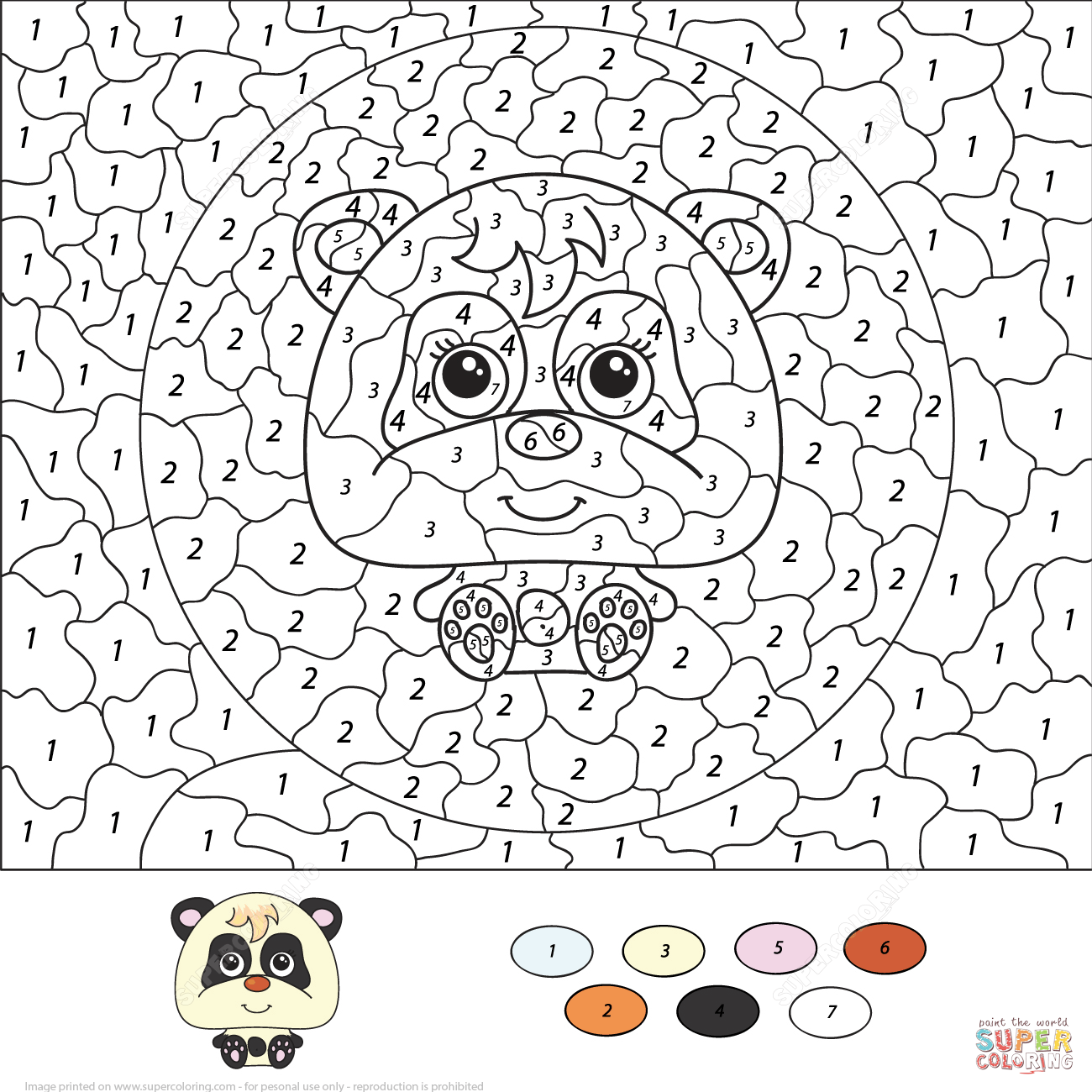 free color by number pages cartoon panda color by number