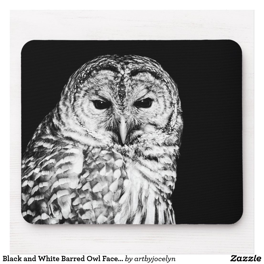 Black And White Barred Owl Face Nature Mouse Pad In 2018 Owl Love