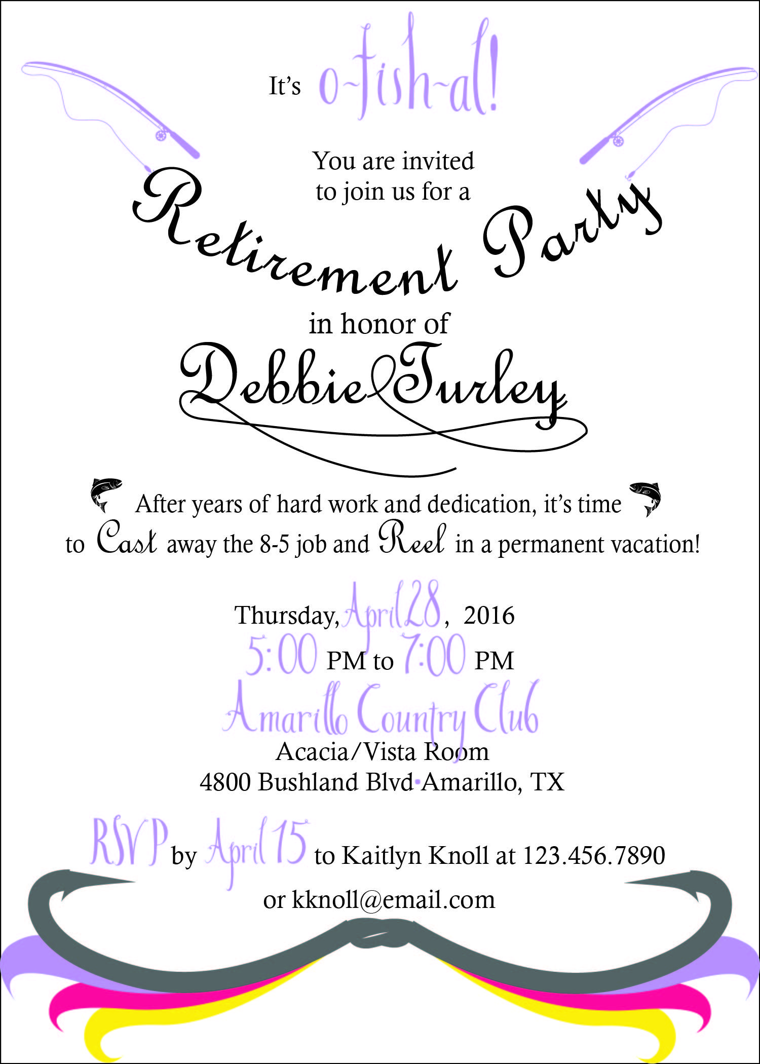 Fly fishing themed retirement party invitation   Retirement ...