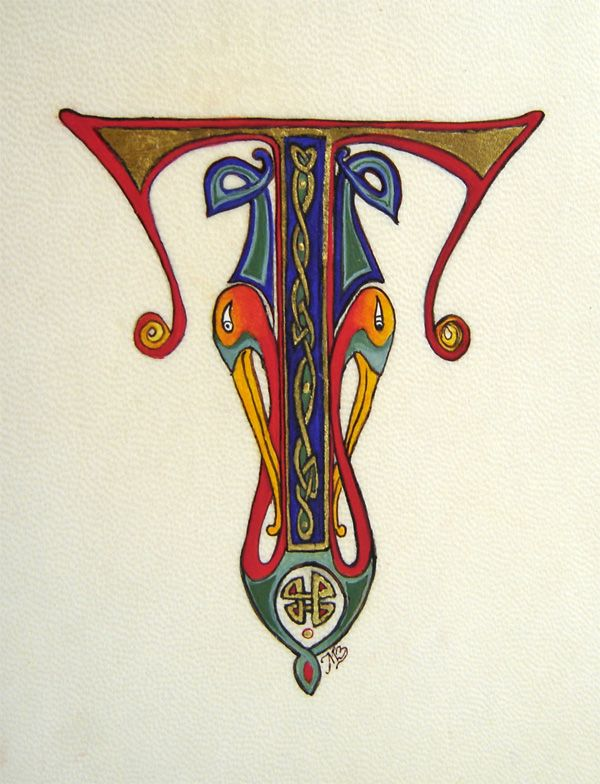 Initiale Celtique T Enluminée Calligraphie Ecriture