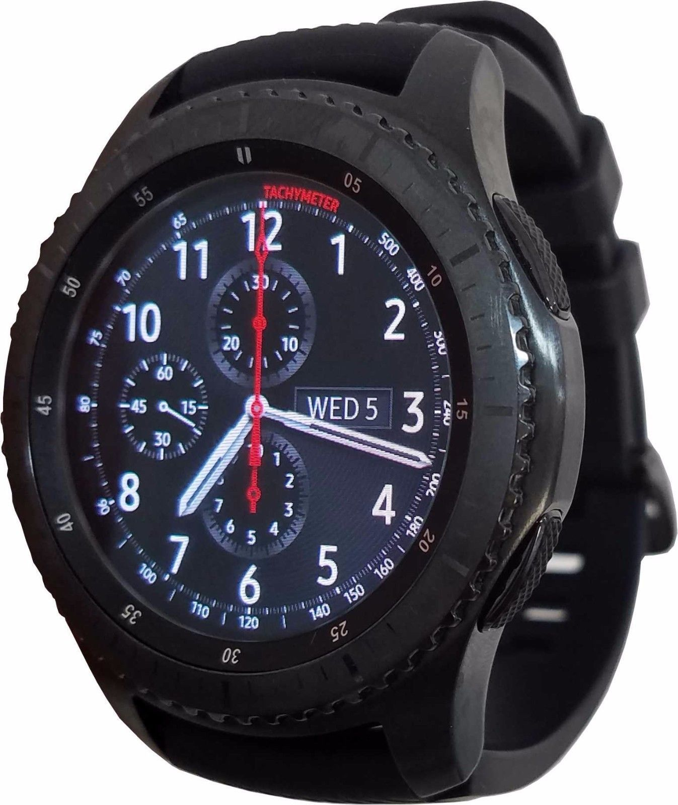 Highly Rated Popular Samsung Galaxy Gear S3 Frontier 46mm Watch Stainless Steel Case Black Band R760 Samsung Watches Gear S3 Frontier Best Smart Watches
