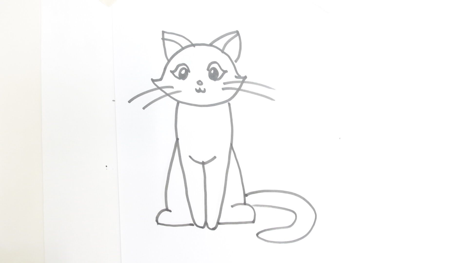 How To Draw A Cartoon Cat Sitting Cartoon Cat Drawing Cat Face Drawing Cat Drawing Tutorial