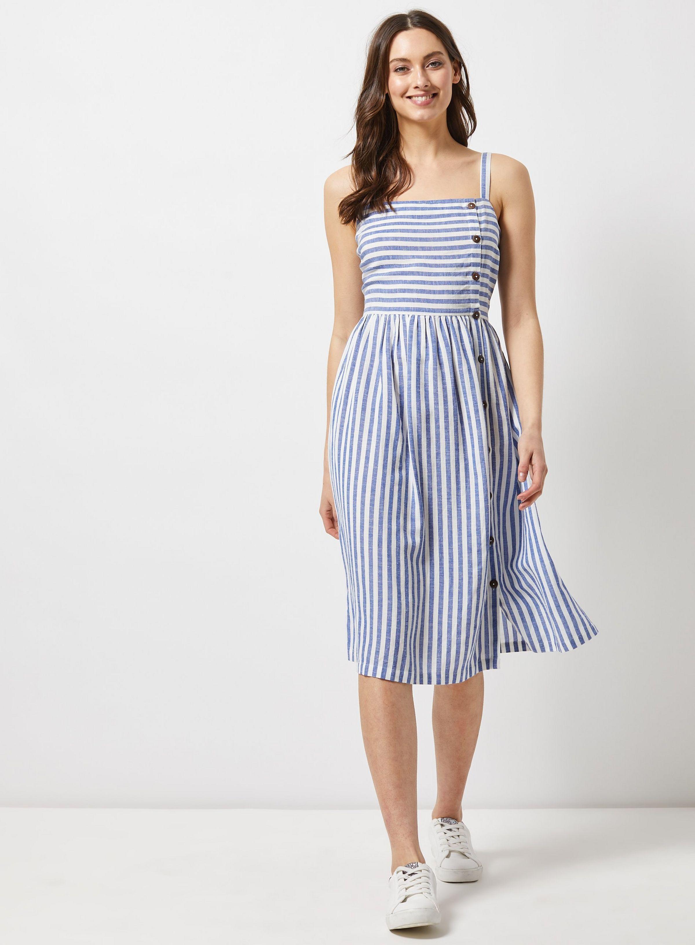 Blue Linen Blend Striped Blend Camisole Dress Dorothy Perkins Camisole Dress Womens Midi Dresses Calf Length Dress [ 3264 x 2400 Pixel ]