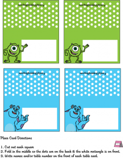 Place Card Place Cards Monster Inc Party Monsters Inc Baby Shower Monster Inc Birthday