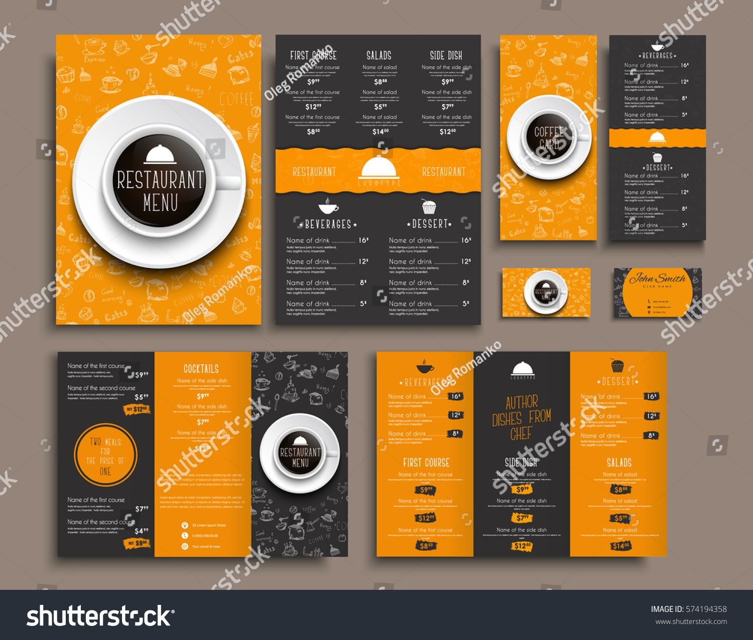 Templates Business Cards A4 Menu Folding Brochures And Flyers Narrow For A Restaurant Or Cafe The Design Of Black Ad Ad Menu Coffee Cards Brochure Food