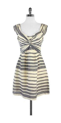 Nanette Lepore Cream Grey Striped Silk Linen Dress Sz 4 Striped Linen Shirt Dresses Linen Dress