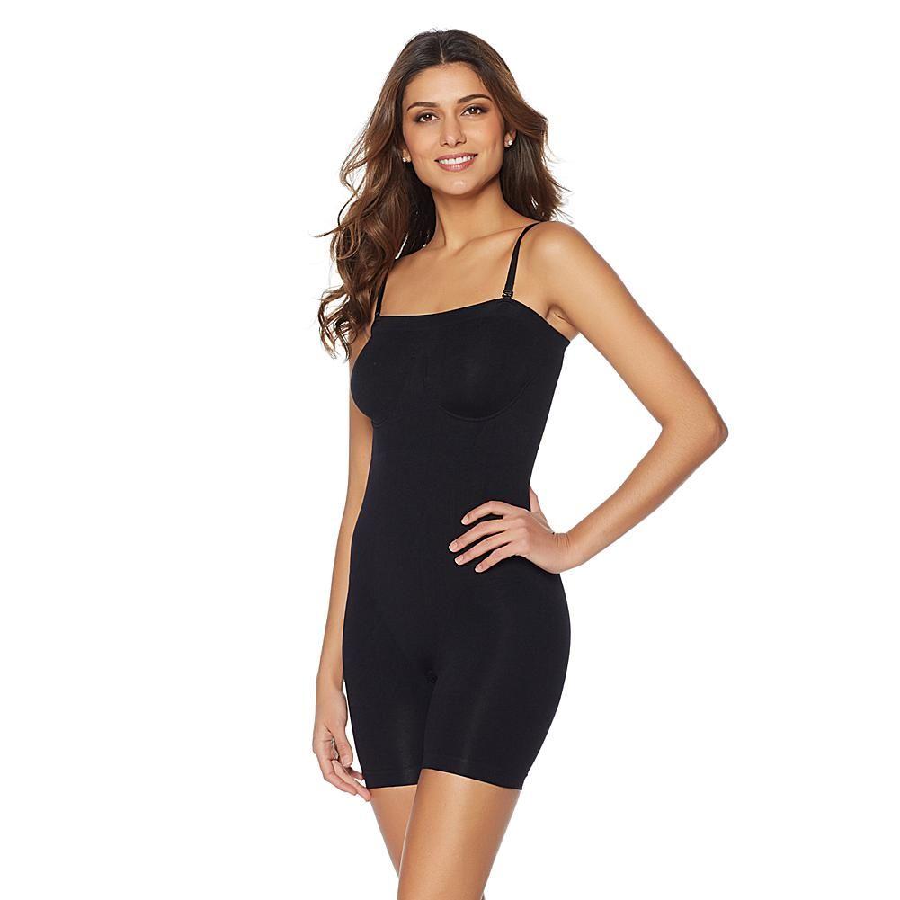 Rhonda Shear Smooth Mid-Thigh Bodysuit - Black