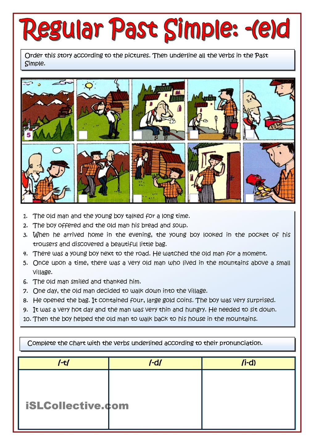 The Old Man Story Ed Past Simple Past Tense Regular Verbs Simple Stories For Kids