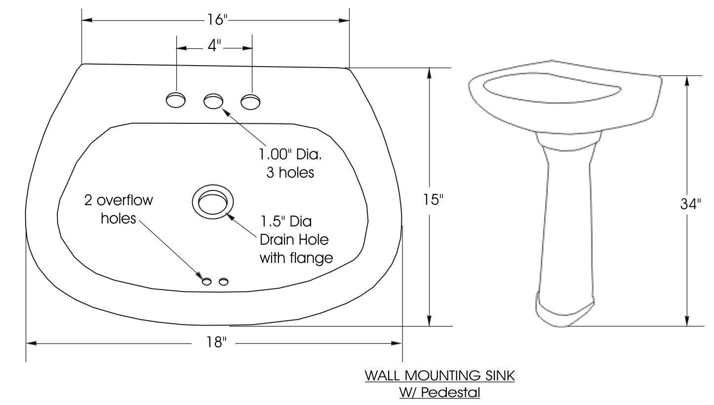 Pedestal Bath Sink Dimensions Wallmountpedestalsink Bath Sinks