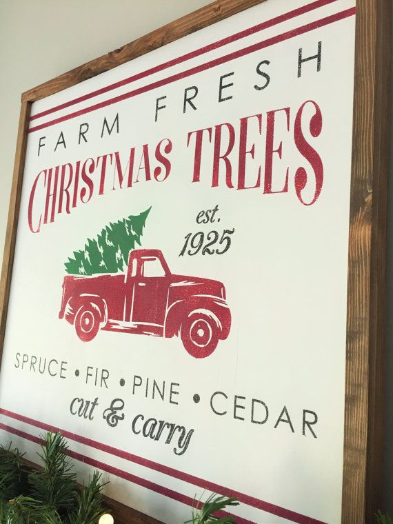 2x2 Vintage Christmas Tree Farm Wall Decor Framed Wood Sign Retro Red Truck With 24x24