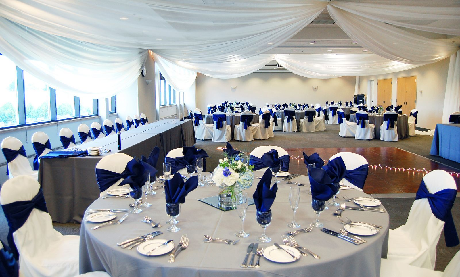 Royal Blue Gray Decor At A Wedding Reception In The Ballroom At