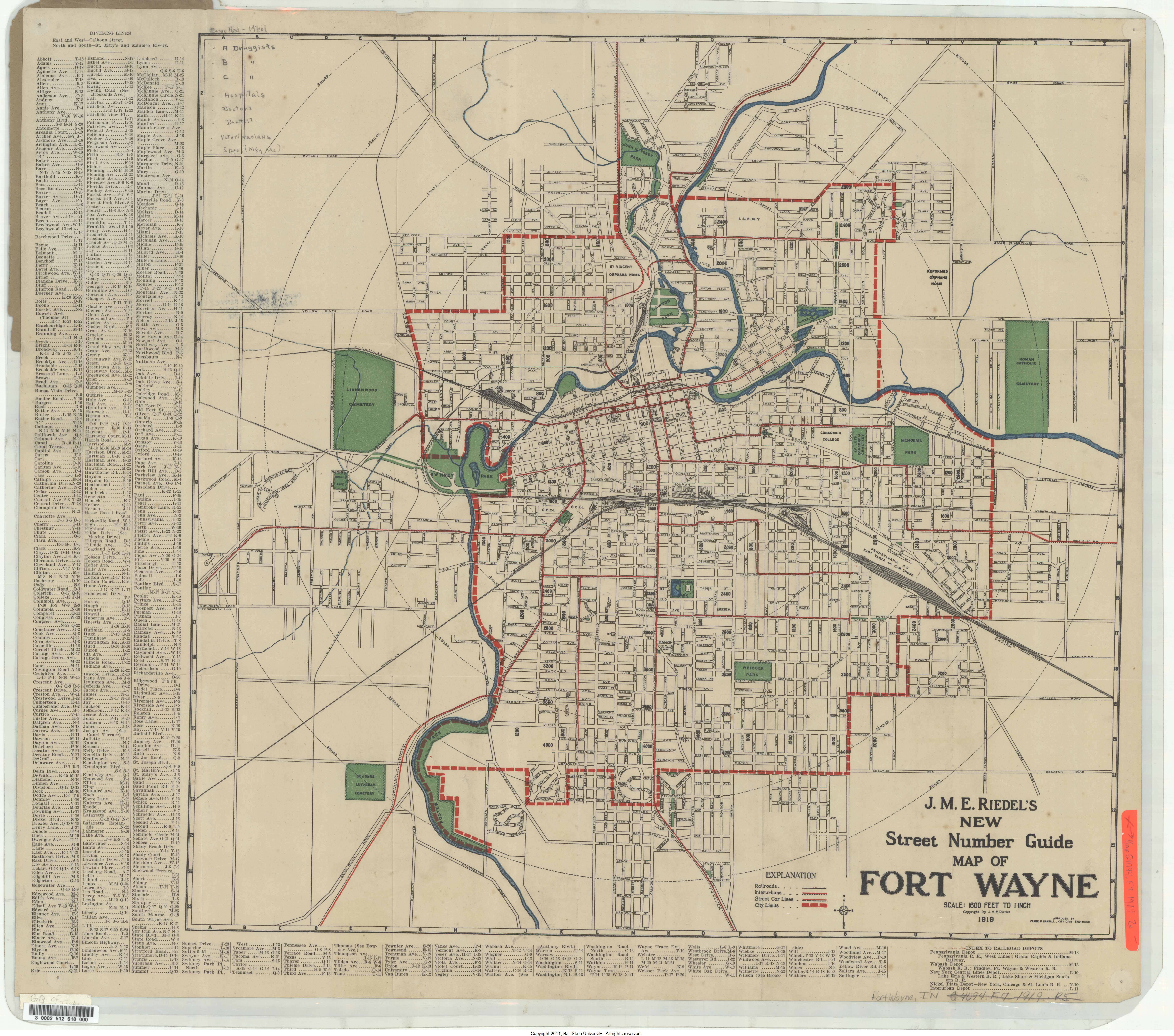 Map of Fort Wayne Indiana 1919 To learn more visit the