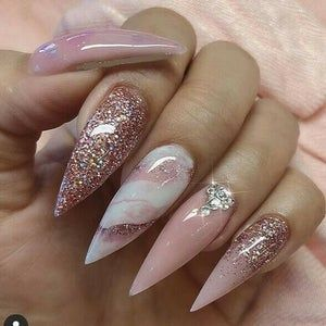 Long Press On Nails Pre Designed on Ballerina Tips