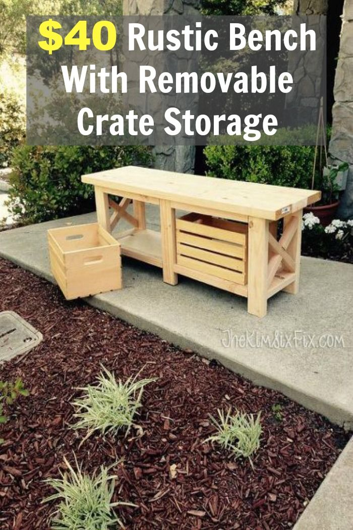 40 Rustic Bench With Removable Crate Storage Organizing