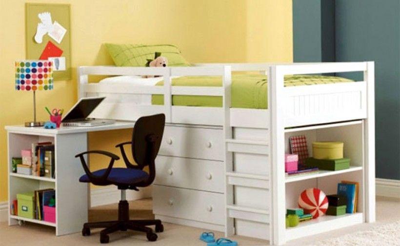 Furniture small loft bed white platform bed storage area