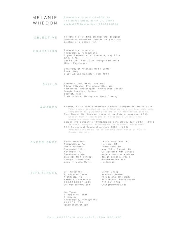 simple  clean  compact resume design by melanie whedon