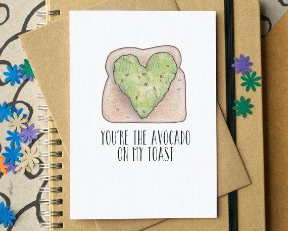 Avocado Toast Valentinskarte. Ein Witziges Geschenk Für Den Tag Der Liebe.  Zu Finden