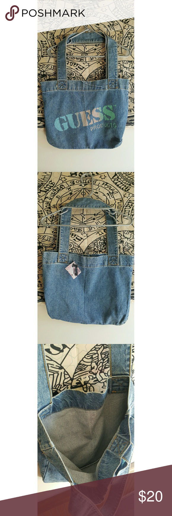 Vintage Guess bag 80s 90s jean tote bag. Soft jean material, not stiff! Has  an untreated mark on the back..see last picture😊 Guess Bags Totes d93547bf17