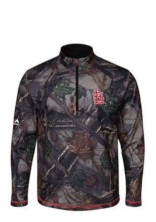 fdb1f50aca1 Majestic STL Cardinals Mens Green Sweat and Determination 1 4 Zip  Performance Pullover