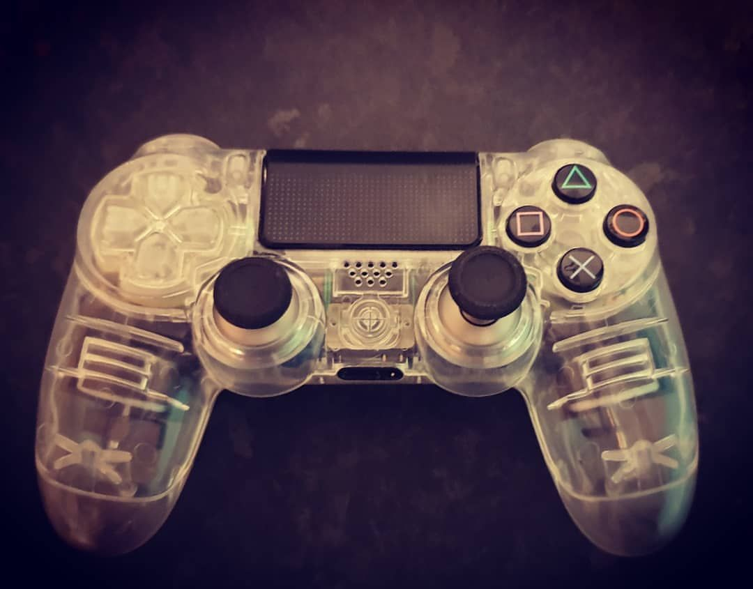 Gen 1 Dualshock 4 With Clear Case And Adjustable Xbox One Elite Sticks With The Gen 3 Waiting For My Scuf Paddles Ps4 Controller Custom Ps4 Controller Control