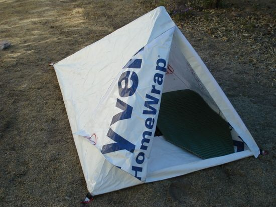 An Ultralight Tent For One Constructed From Tyvek Homewrap Must Try This Tent Camping Stealth Camping Best Tents For Camping