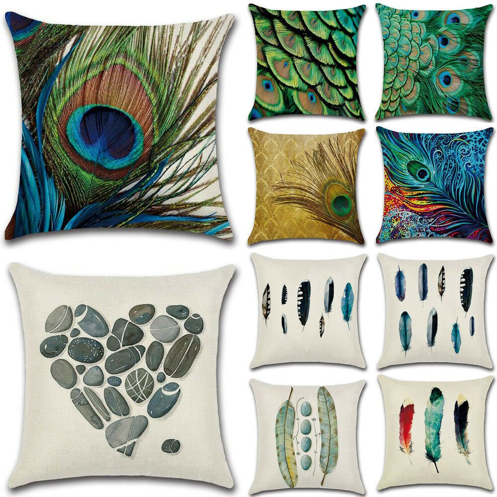 Square Peacock Feather Pillow Cases Cushion Covers Sofa Waist Throw Home Decor
