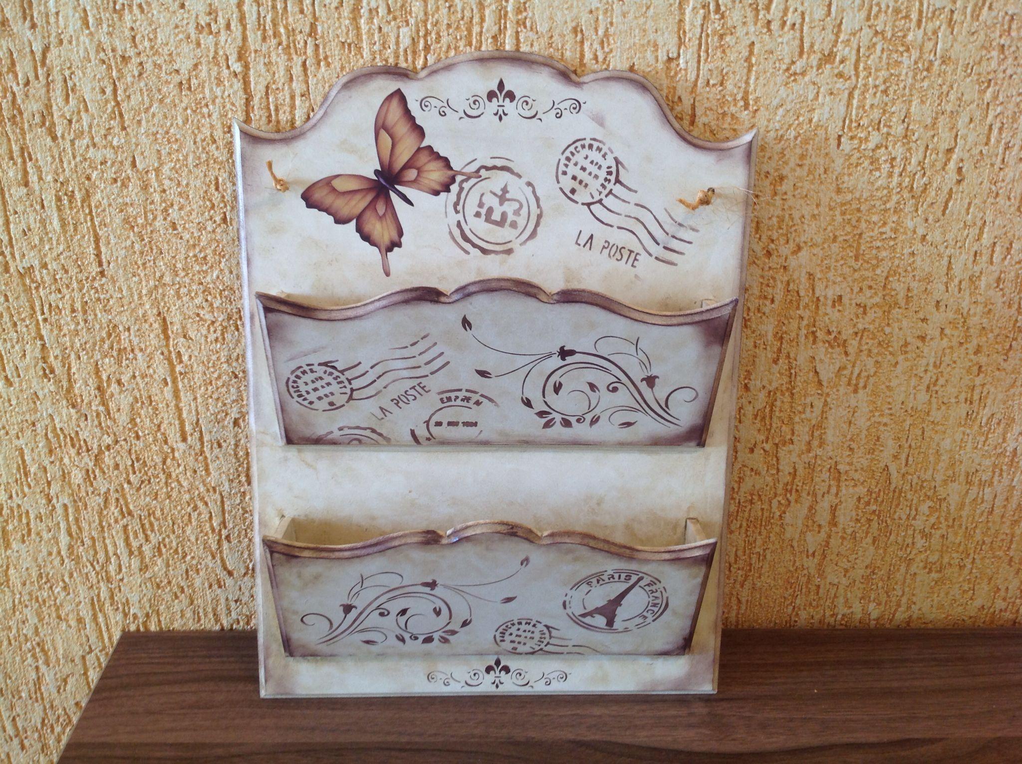 Porta cartas duplo em mdf decorado com stencil ideias - Cajas de madera decorativas ...