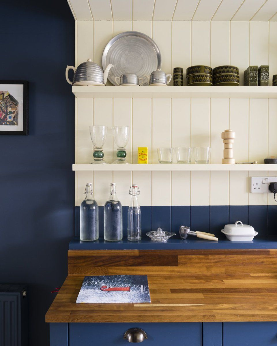 Kitchen Design Drawing With Color: Wimborne White & Drawing Room Blue