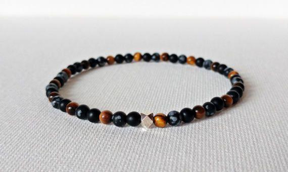 Check out this item in my Etsy shop https://www.etsy.com/ca/listing/518203969/4mm-onyx-bracelet-tigers-eye-bracelet