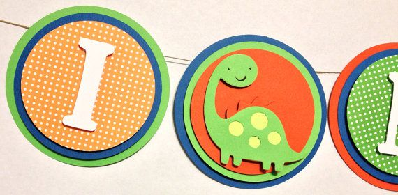 Party Decorations - I Am One Banner Party Decorations Dinosaur by FitchCraftCreations