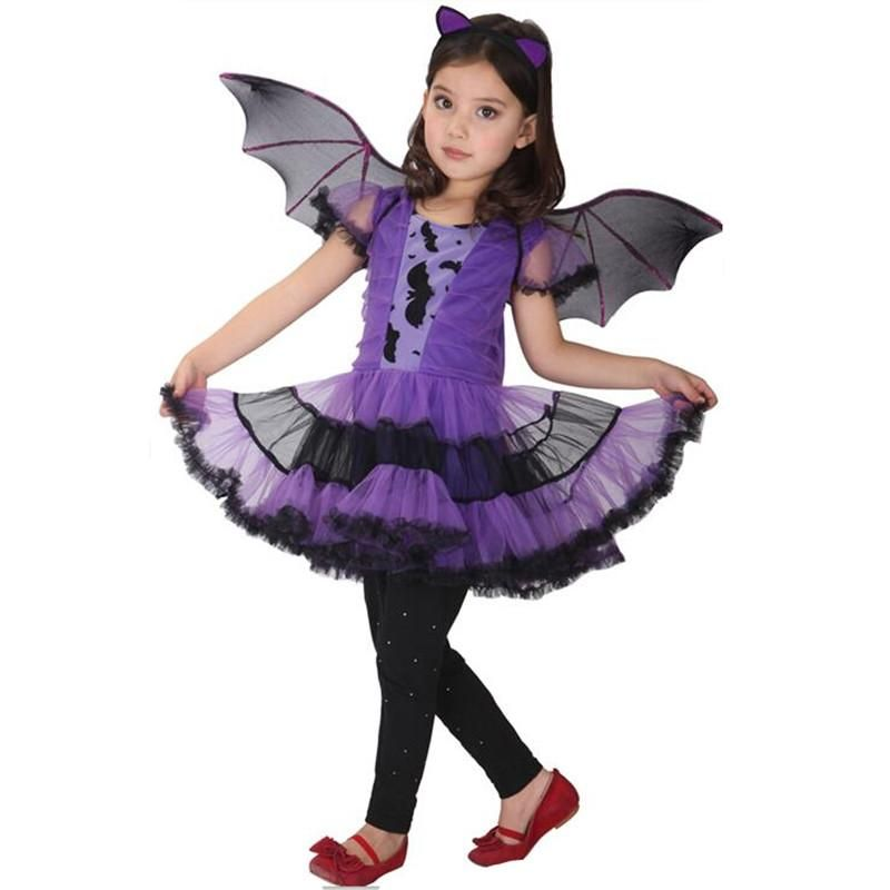 Bat Girl Costume Children Cosplay Dance Dress cape cloak Costumes - womens halloween ideas