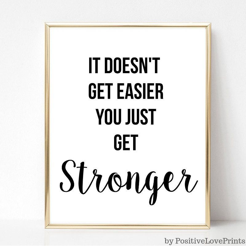 Exercise, Workout Motivational Printable Wall Art, Gym Decor, Fitness Quote - It doesnt get easier y...