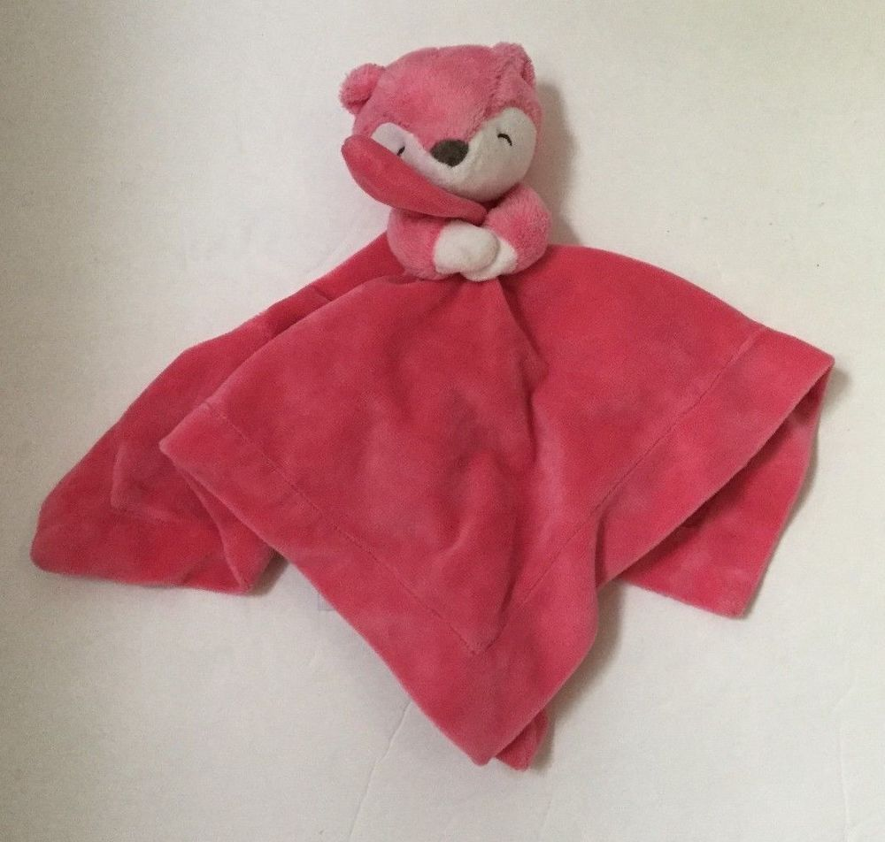 Carters baby lovey pink plush fox rattle velour rattle security