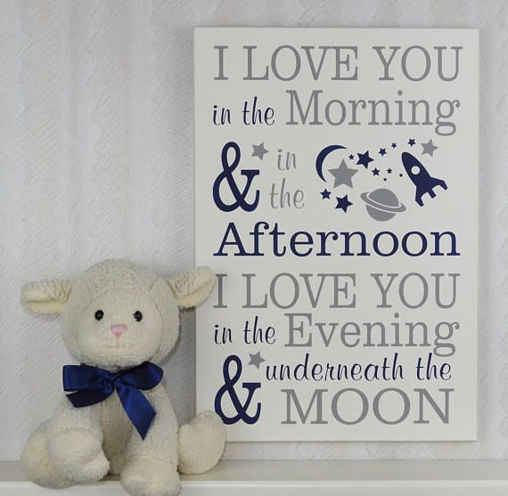 Outer Space Nursery Decor | I love you in the morning.. afternoon.. underneath the moon, Sign | Baby Boy Nursery | OuterSpace Nursery •