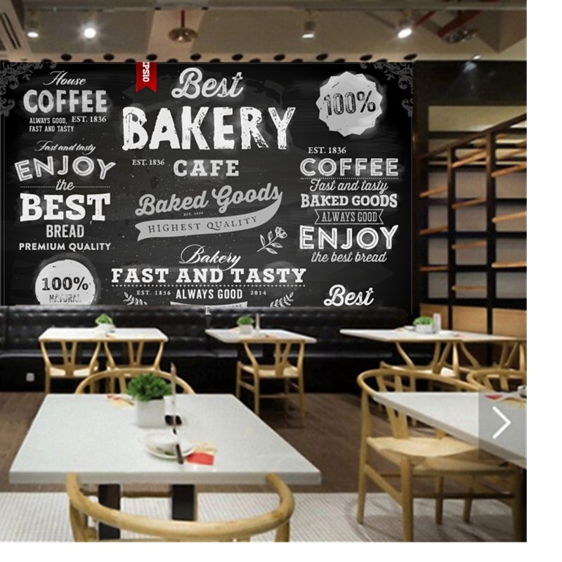 Custom 3d Modern Wallpaper Bread Cake Shop Pastry Icon For The Restaurant Cafe Bar Background Wall Waterproof Pvc Wallpaper Cake Shop Wall Waterproofing Cafe