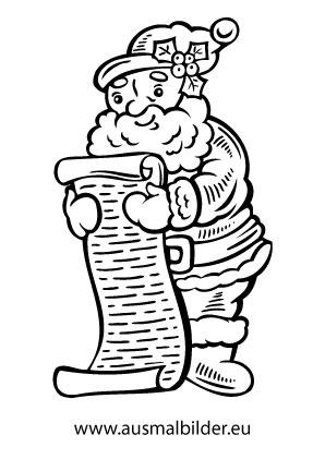 Ausmalbild Weihnachtsmann Mit Schriftrolle Ausmalbilder Weihnachtsmann Weihnachtsfarben Weihnachtsmalvorlagen