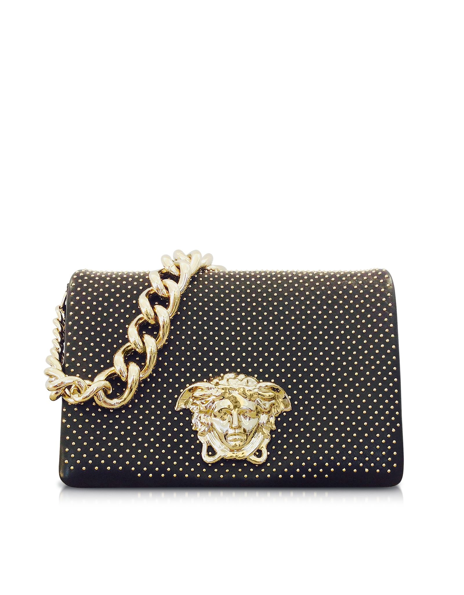 0c321a2415e2 Versace Medusa Logo Black Leather Shoulder Bag w Golden Studs at FORZIERI