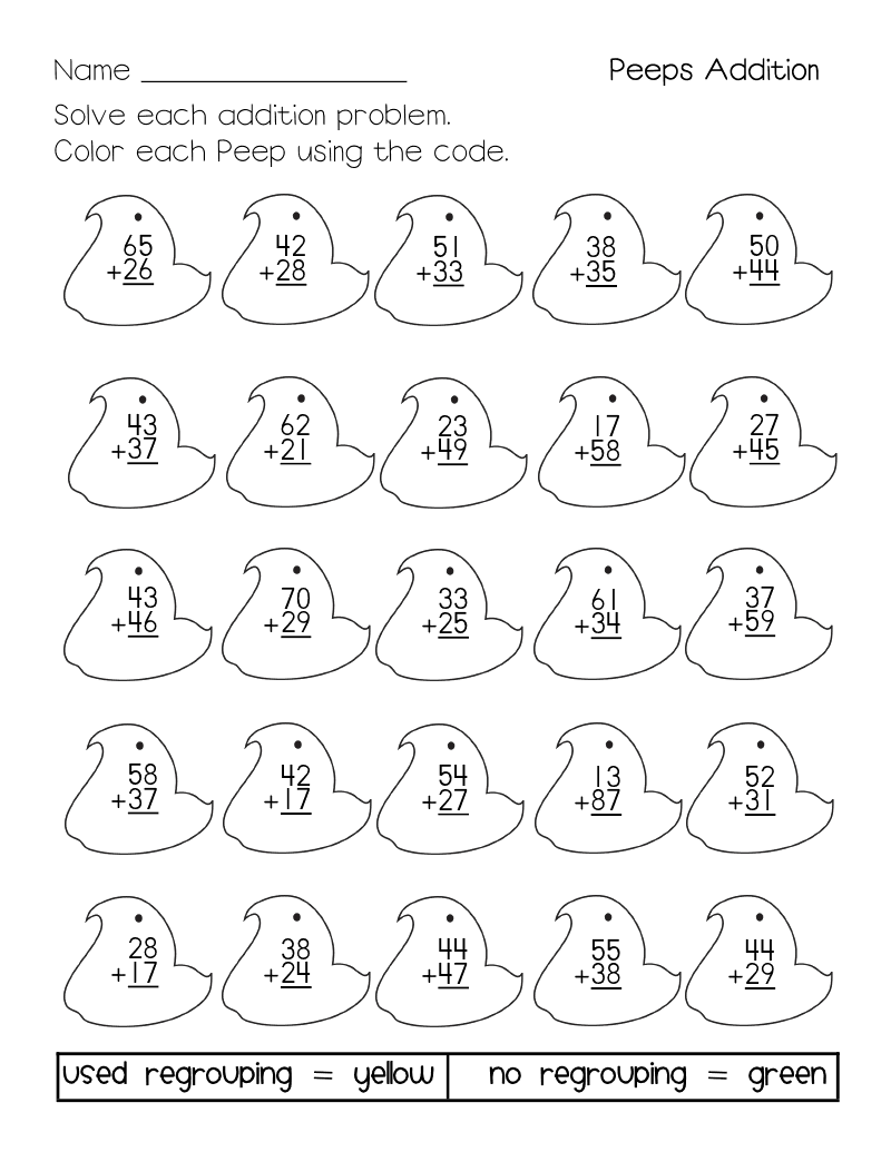 Coloring pages for double digit subtraction - Free Easter Addition Page