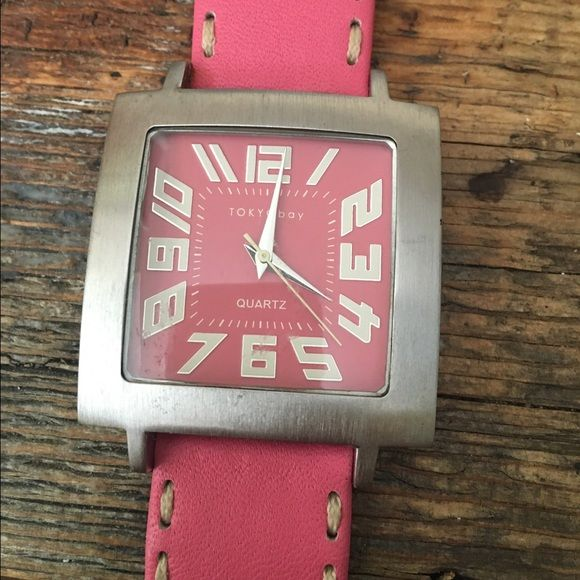 Tokyo Bay Tram Stitch Watch Great watch from Tokyo Bay. This style is called Tran Stitch. Pink face and band. Matte silver around the face and on the buckle. Stainless Steel case. Only worn once. In perfect condition. No scratches. Case size is 39.5 cm. Toyko Bay Accessories Watches