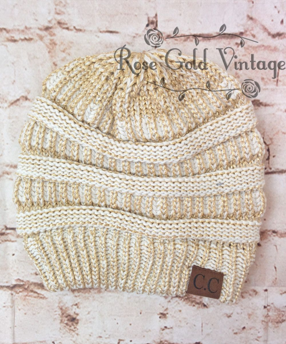 CC Beanie Hats in Metallic Gold   Ivory - plus 22 colors to choose from! – Rose  Gold Vintage 3494372ab00
