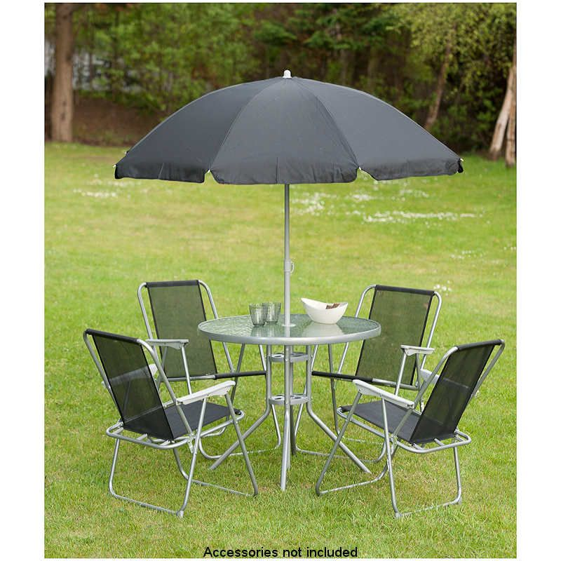 This stylish Milano 6 Piece Set includes  1 table, 4 chairs 1 parasol. Perfect for relaxing in your garden. With a metal frame and glass top table.