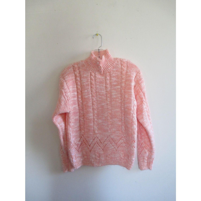 Vintage Force Light Pink White Pearl Cable Knit Mock Turtleneck ...