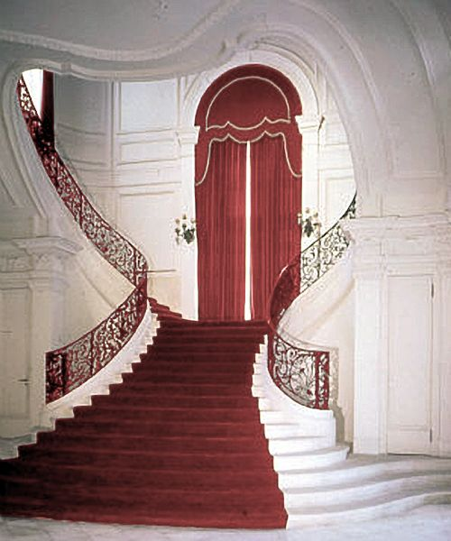 "A Beautiful Summer Wedding At Rosecliff Mansion In Newport: The Heart Shaped Limestone Staircase, Is Known As ""the"